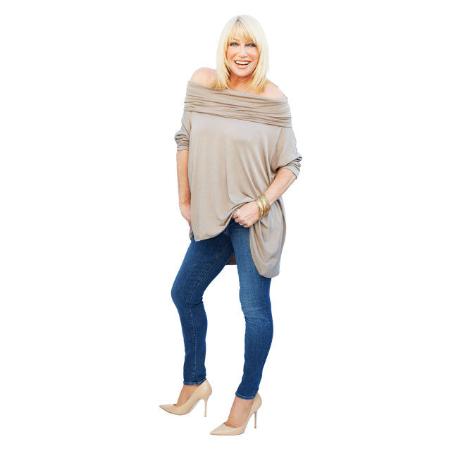 Suzanne wearing the Suzanne Somers' 3Way Poncho