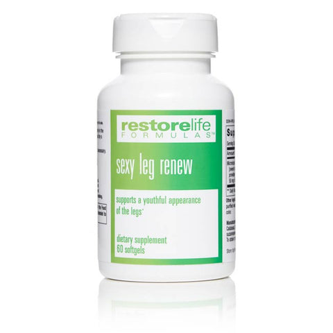 white bottle with green label which says sexy leg renew 60 softgels