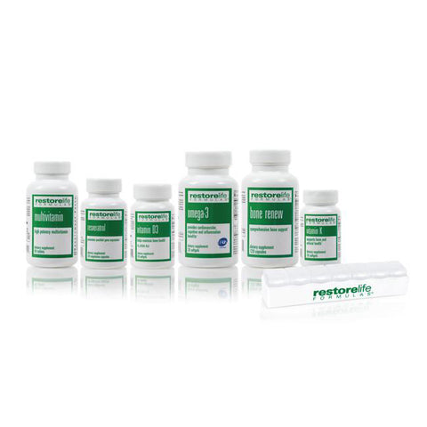 RestoreLife 7-Piece Kit - • High Potency Multivitamin Supplement - 60 tablets • Omega-3 Dietary Supplement - 60 softgels • Vitamin D3 - 60 softgels • Resveratrol Renew - 30 capsulesl • Bone Renew Dietary Supplement - 120 capsules • Vitamin K Dietary Supplement - 30 tablets • RestoreLife Formulas Pill Box