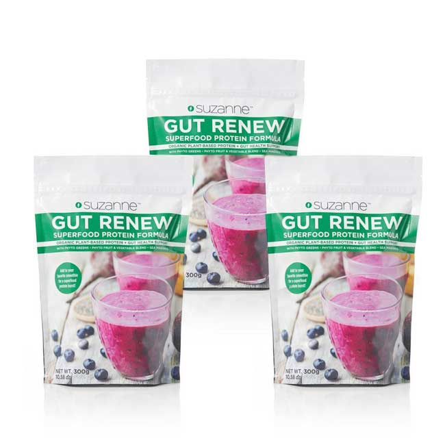 3 300 gram pouches of gut renew superfood protein powder