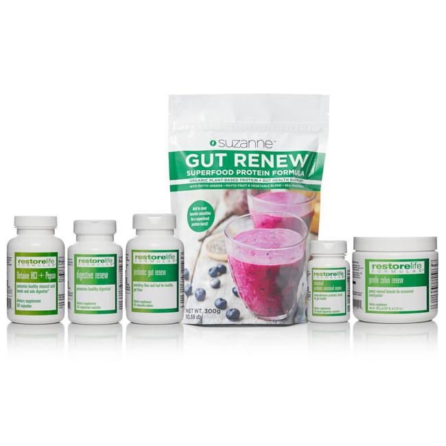 a bundle including a pouch of protein superfood and 5 bottles of supplements