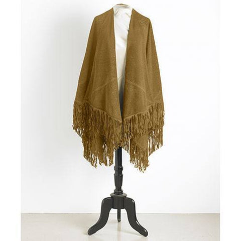 Accessories - Genuine Suede Fringed Wrap
