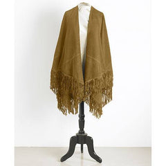 Genuine Suede Fringed Wrap