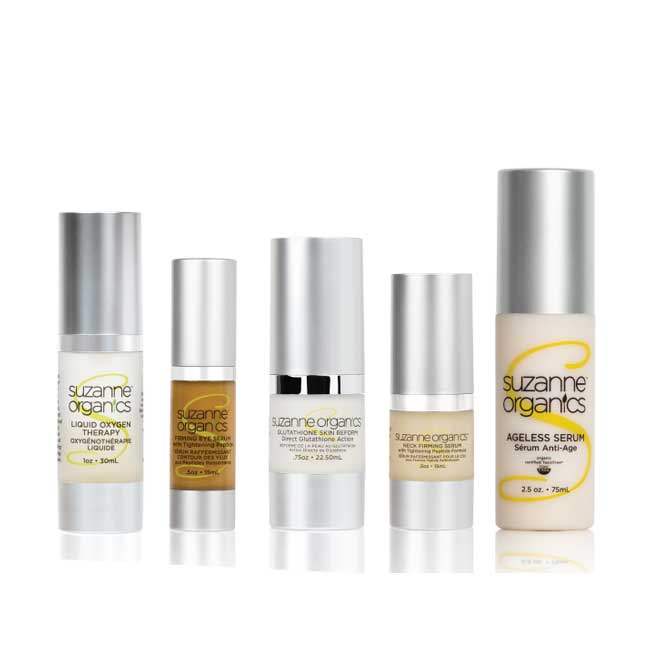 5 bottles in the set. Bonus size ageless serum, liquid oxygen, eye firming serum, neck firming serum, and glutathione skin renew