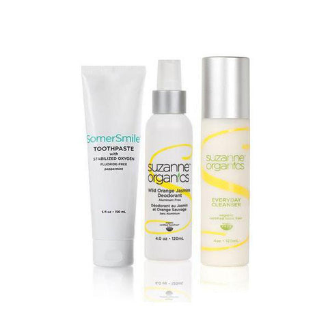 skincare - SUZANNE Organics 3-Piece Essentials Kit - • SomerSmile Toothpaste with Stabilized Oxygen (5 oz) • Wild Orange Jasmine Deodorant (4 oz) • Everyday Facial Cleanser (4 oz)