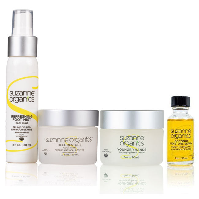 Skincare - SUZANNE Organics 4-Piece Hand and Foot Restoration Kit - • SUZANNE Organics Heel Restore (Regular Price $29.99) • SUZANNE Organics Foot Spray (Regular Price $19.99) • SUZANNE Organics Younger Hands (Regular Price $39.99) • SUZANNE Organics Coconut Moisture Serum (Regular Price $24.99)