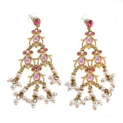 Antique Pink Beaded Earrings