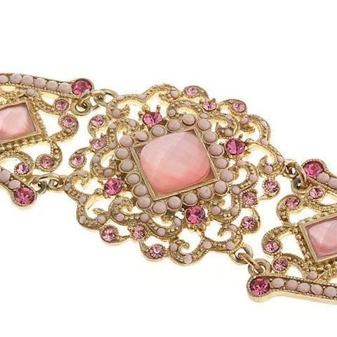 Antique Pink Beaded Necklace