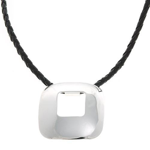 Silver Square Pendant and Leather Necklace