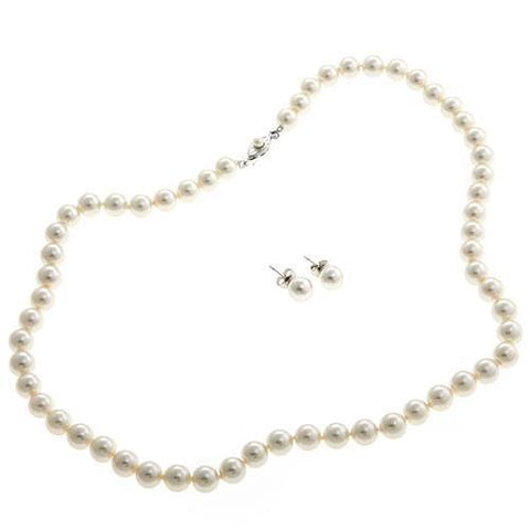 Jewelry - White Mallorca Pearls Necklace & Earrings Set