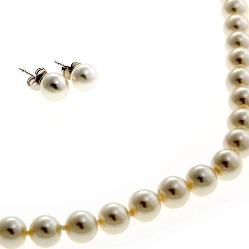 Mallorca Pearl Necklace: White Mallorca Pearls Necklace & Earrings Set