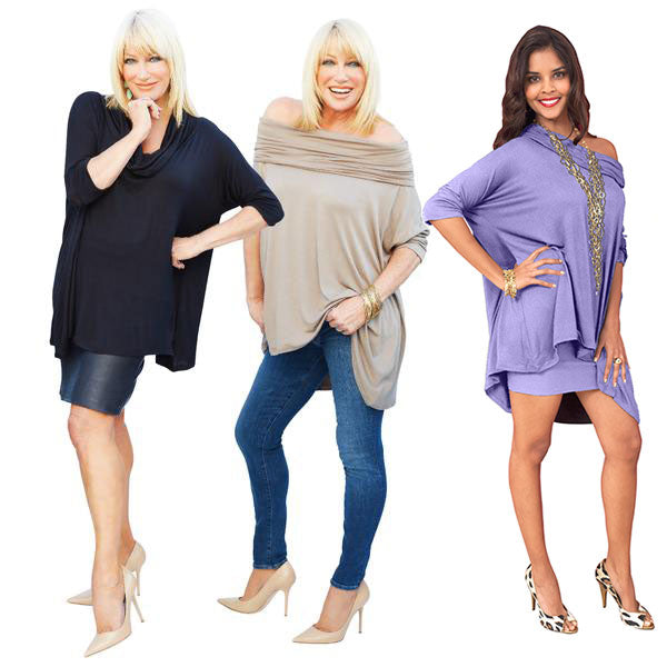 Suzanne Somers wearing a black 3 way poncho, Suzanne Somers wearing a mocha 3 way poncho, another woman wearing a lavender 3 way poncho
