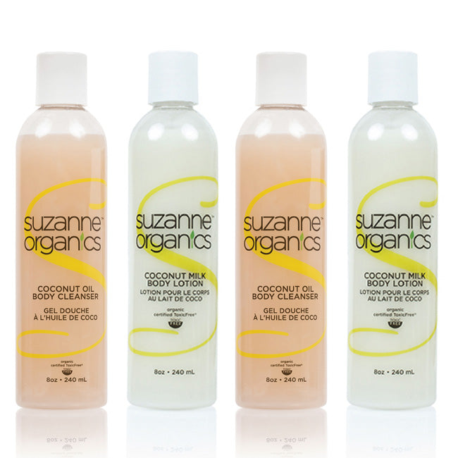 SUZANNE Organics Coconut Body Wash and Body Lotion Double Duo (4 Bottles)