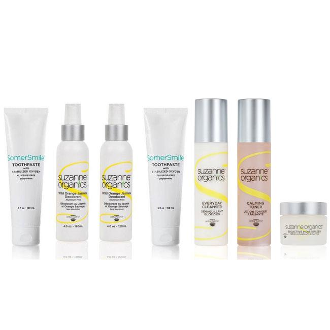 skincare - SUZANNE Organics Mega Toxic-Free Daily Essentials Kit - • (2) SomerSmile Toothpaste with Stabilized Oxygen (5 oz) • (2) Wild Orange Jasmine Deodorant (4 oz) • Everyday Facial Cleanser • Calming Toner • Bioactive Moisturizer