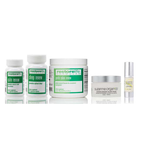 bottles of calm renew and sleep renew and gentle colon renew, sandalwood sleep mask, and targeted night cream