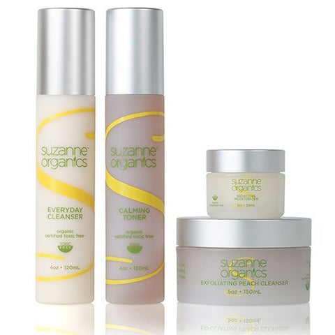 Skincare - SUZANNE Organics 4 Piece Skincare Kit - Everyday Cleanser (4 oz.), Peach Exfoliating Cleanser (5 oz.), Calming Toner (4 oz.), Bioactive Moisturizer (1 oz.)