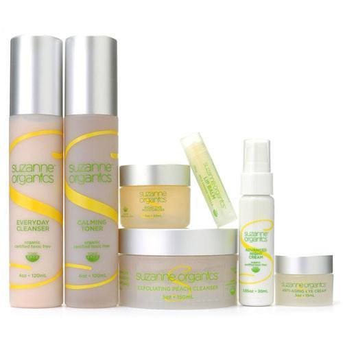Skincare - SUZANNE Organics Ultimate 6 Piece Skincare Kit With Bonus Lip Balm - Everyday Cleanser - 4 oz  Anti-Aging Eye Cream - 0.5 oz  Calming Toner - 4 oz  Peach Exfoliating Cleanser - 5 oz Bioactive Moisturizer - 1 oz  Targeted Night Cream - 1 oz  Wild Orange Vanilla Lip Balm - 0.15 oz