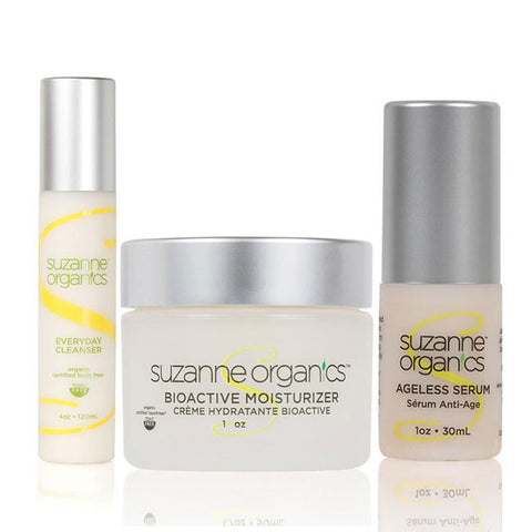 Skincare - SUZANNE Organics 3-Piece Summer Glow Skincare Kit - SUZANNE Organics Bioactive Moisturizer (1oz) SUZANNE Organics Ageless Serum (1oz) SUZANNE Organics Everyday Facial Cleanser (4oz)
