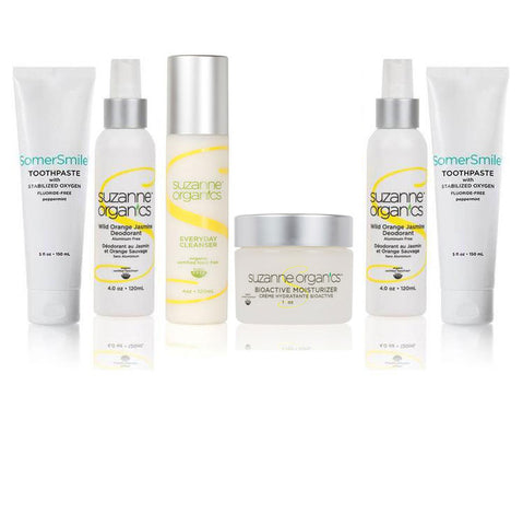 Skincare • (2) SomerSmile Toothpaste with Stabilized Oxygen (5 oz) • (2) Wild Orange Jasmine Deodorant (4 oz) • Everyday Facial Cleanser (4 oz) • Bioactive Moisturizer (1 oz)