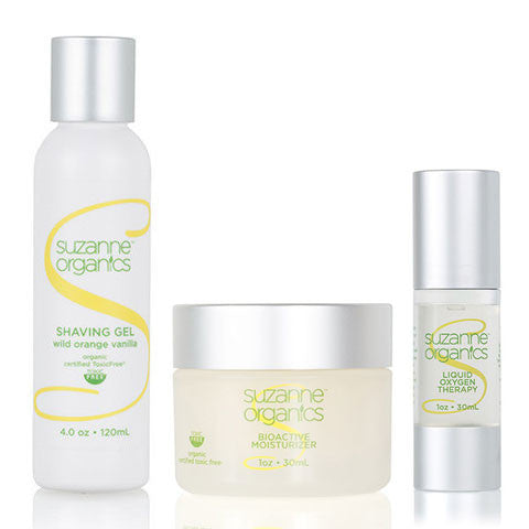 Skincare - SUZANNE Organics 3-Piece Mens' Facial Care Kit - SUZANNE Organics Shaving Gel SUZANNE Organics Bioactive Moisturizer SUZANNE Organics Liquid Oxygen Therapy Facial Serum