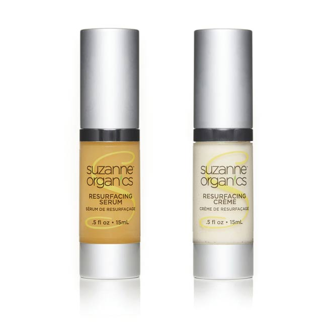 A .5 ounce bottle of resurfacing creme and resurfacing serum