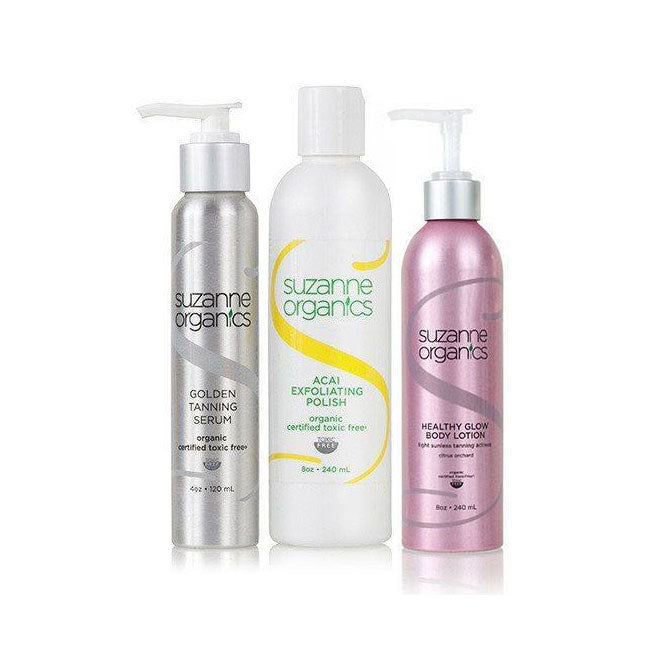 Skincare - SUZANNE Organics 3-Piece Tanning Kit - ACAI EXFOLIATING POLISH, GOLDEN TANNING SERUM, HEALTH GLOW BODY LOTION