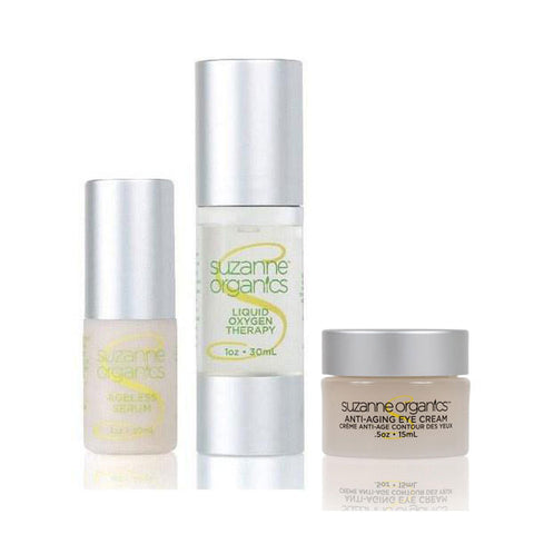 Skincare - SUZANNE Organics 3-Piece Wrinkle Wreckers Kit - Ageless Serum, Anti-Aging Eye Cream, and Liquid Oxygen Facial Serum