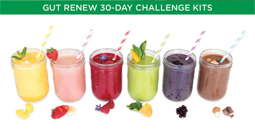 6 different multi-colored smoothies