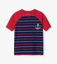 Load image into Gallery viewer, Hatley Short Sleeve Rashgaurd - Nautical Stripe