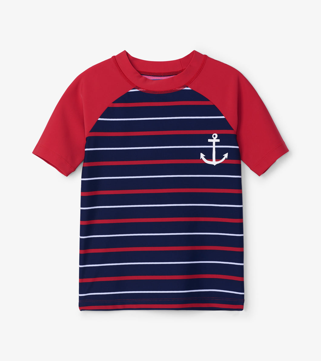 Hatley Short Sleeve Rashgaurd - Nautical Stripe