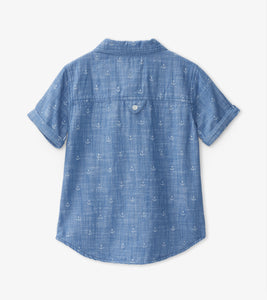 Hatley Short Sleeve Button Down Shirt - Chambray Anchors