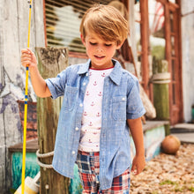 Load image into Gallery viewer, Hatley Short Sleeve Button Down Shirt - Chambray Anchors