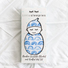 Load image into Gallery viewer, Little Sleepies Swaddle + Hat Set - Blue Rainbows