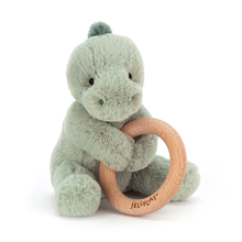 Load image into Gallery viewer, Jellycat Wooden Ring Rattle - Puffles Dino