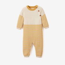 Load image into Gallery viewer, Elegant Baby Jumpsuit - Mustard Stripe
