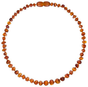 Powell's Owls Amber Teething Necklace - Unpolished Cognac