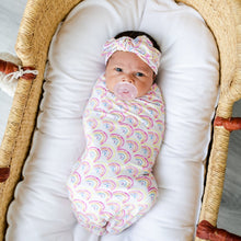 Load image into Gallery viewer, Little Sleepies Swaddle + Headband Set - Pastel Rainbows
