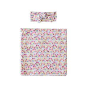 Little Sleepies Swaddle + Headband Set - Pastel Rainbows