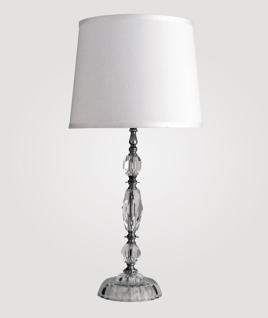 Athens Medium clear crystal & Countess white linen shade
