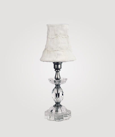Athens Petite clear crystal and glass & Baroness white floral shade