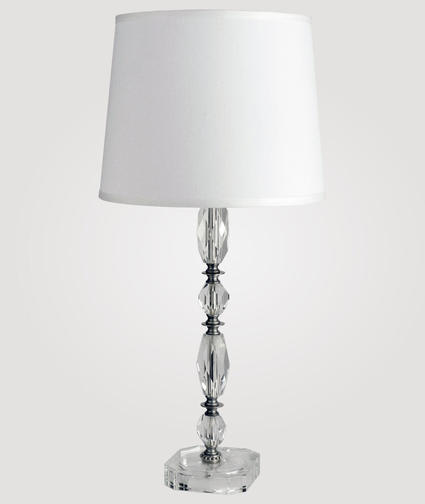 Athens Tall clear crystal & Countess white linen shade