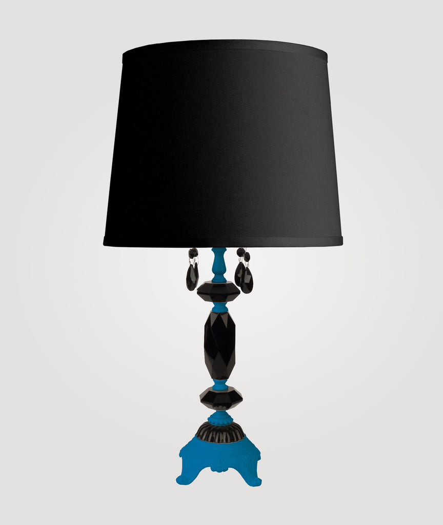 Berlin Medium neon blue with black crystals & Countess black linen shade
