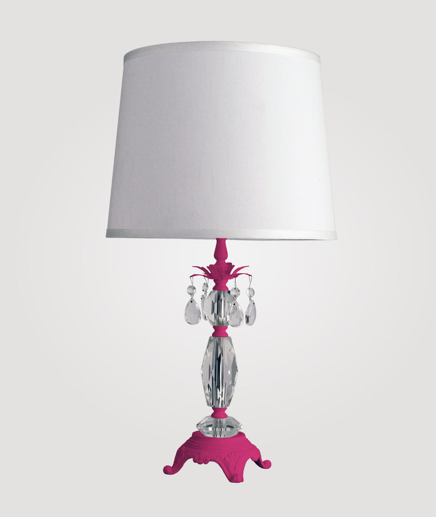 Berlin Medium neon fuchsia with clear crystals & Countess white linen shade