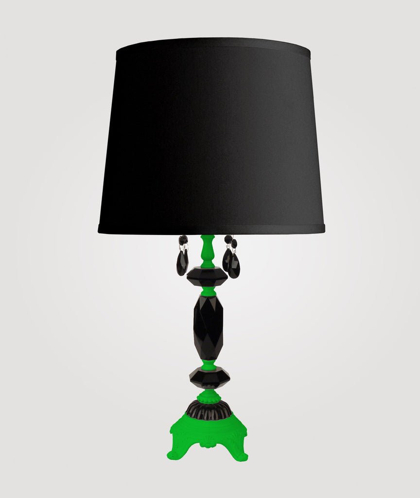Berlin Medium neon green with black crystals & Countess black linen shade