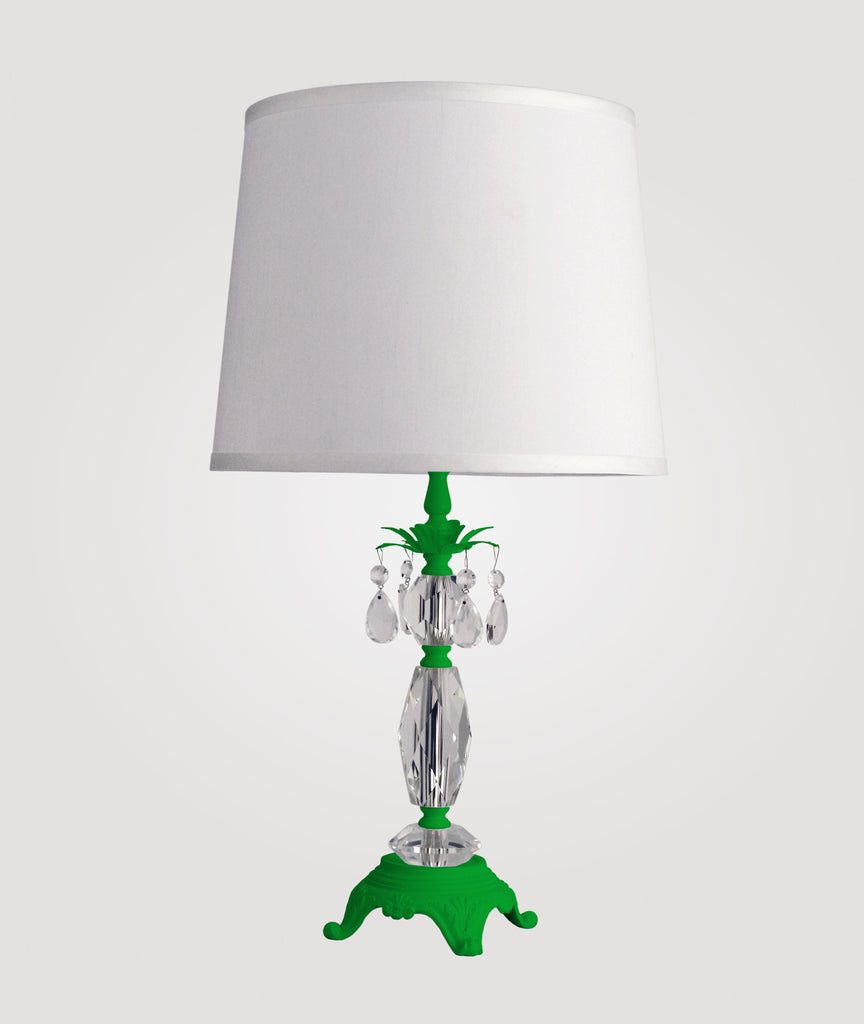 Berlin Medium neon green with clear crystals & Countess white linen shade