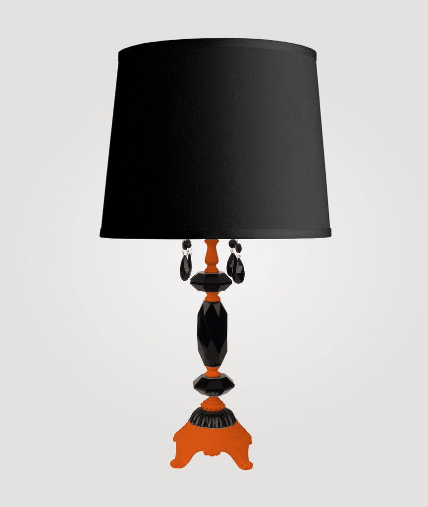 Berlin Medium neon orange with black crystals & Countess black linen shade