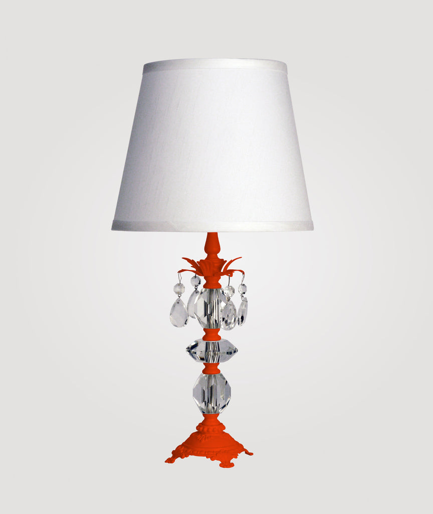 Berlin Small neon orange with clear crystals & Countess white linen shade