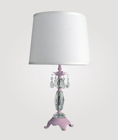 Berlin Medium gloss pink with clear crystals & Countess white linen shade