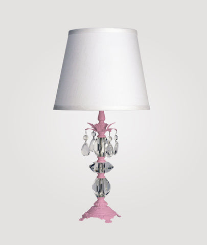 Berlin Small gloss pink with clear crystals & Countess white linen shade