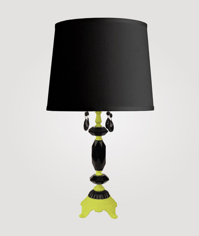 Berlin Medium neon yellow with black crystals & Countess black linen shade